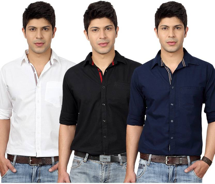 Top Notch Men's Solid Casual White, Black, Dark Blue Shirt