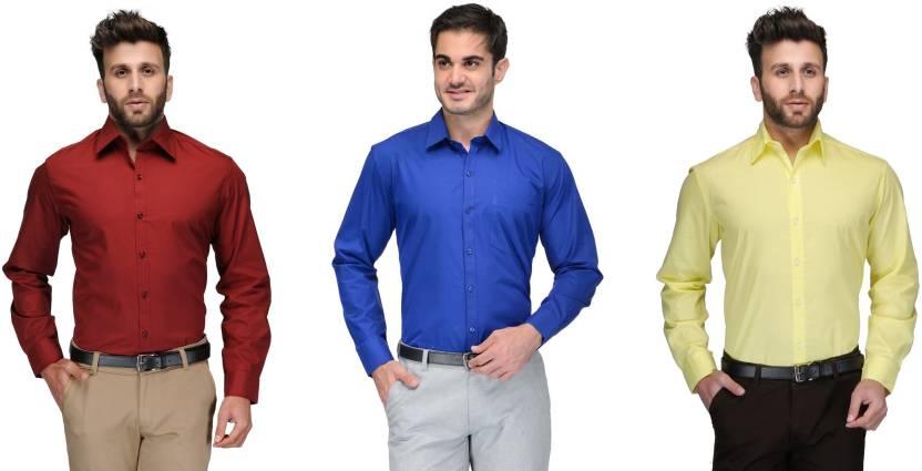 Allen Men's Solid Formal Red, Blue, Yellow Shirt