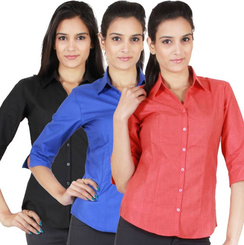 09e1ad342a4 NGT Women's Solid Formal Button Down Shirt