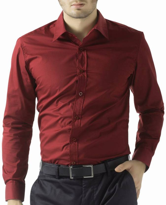 Being Fab Men's Solid Formal Maroon Shirt