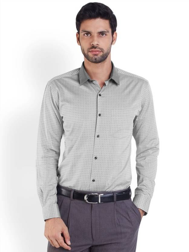 Park Avenue Men's Printed Formal Grey Shirt