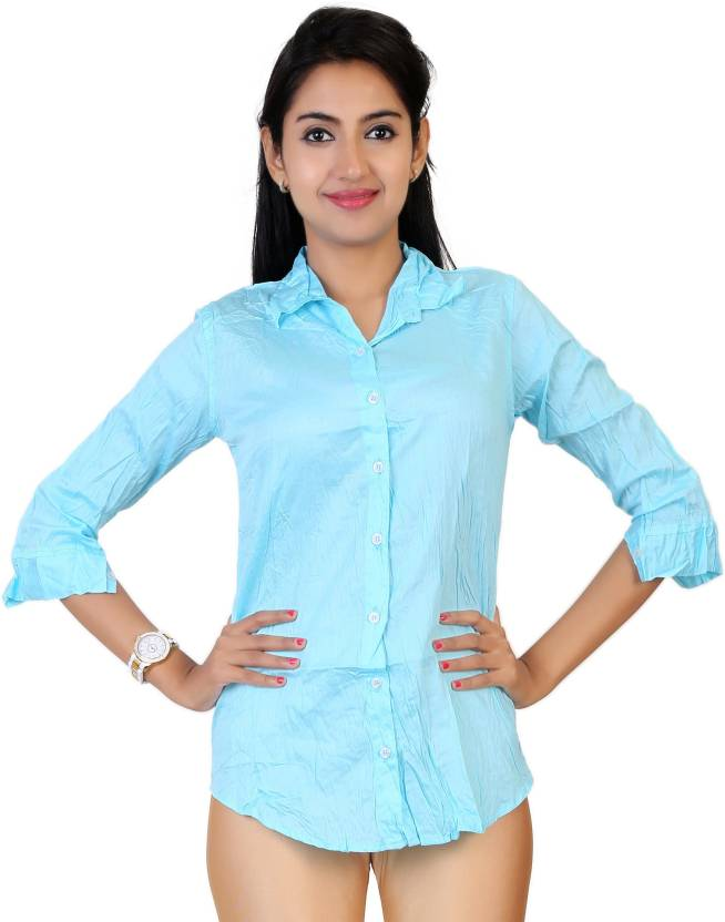 Carrel Womens Solid Formal Light Blue Shirt Buy Skyblue Carrel