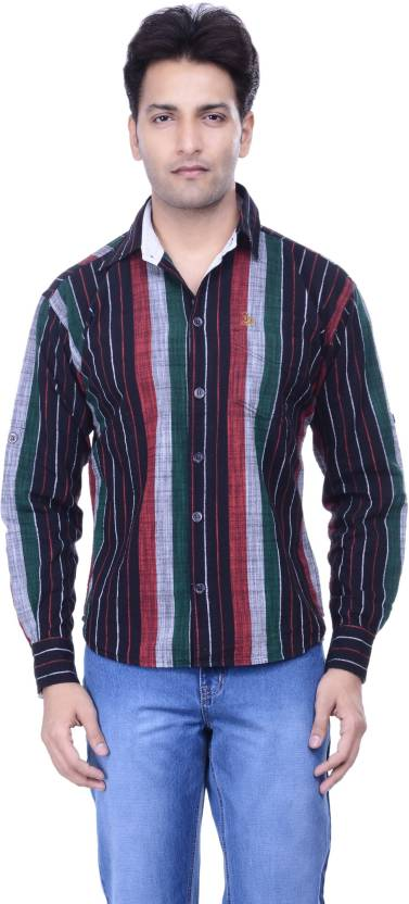 6d8c0139 yankee Men's Striped Casual Ribbed Collar Shirt - Buy Red, Grey ...