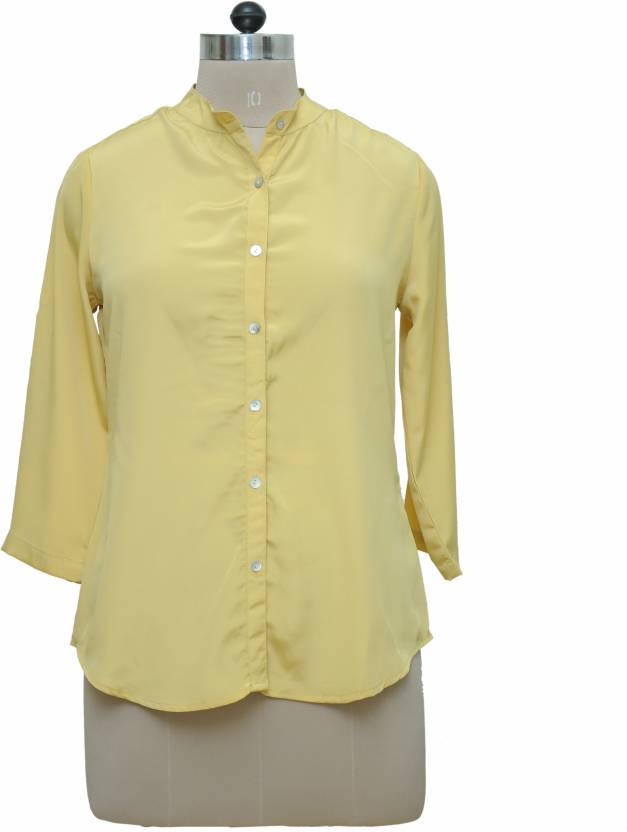 2e3aca1eaf694 Tapyti Women s Solid Casual Mandarin Shirt - Buy Mustard Tapyti Women s  Solid Casual Mandarin Shirt Online at Best Prices in India