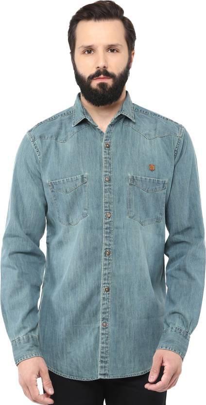 f0a9167a95b Speak Men s Solid Casual Blue Shirt - Buy Blue Speak Men s Solid Casual  Blue Shirt Online at Best Prices in India