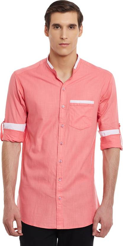 dc48dd17 Wild Hunk Men's Solid Casual MANDARIN OR CHINESE COLLAR Shirt - Buy Pink  Wild Hunk Men's Solid Casual MANDARIN OR CHINESE COLLAR Shirt Online at  Best Prices ...