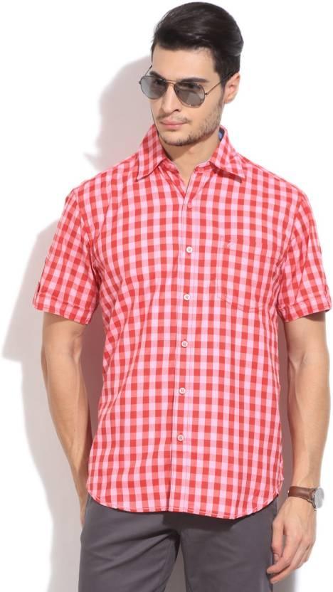 John Players Men's Checkered Formal Red, Pink Shirt