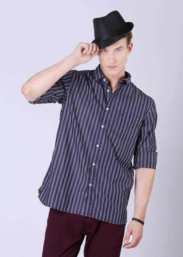 23dc5b831ac868 Indian Terrain Men's Striped Casual Blue, White Shirt - Buy Navy Blue, White  Indian Terrain Men's Striped Casual Blue, White Shirt Online at Best Prices  in ...