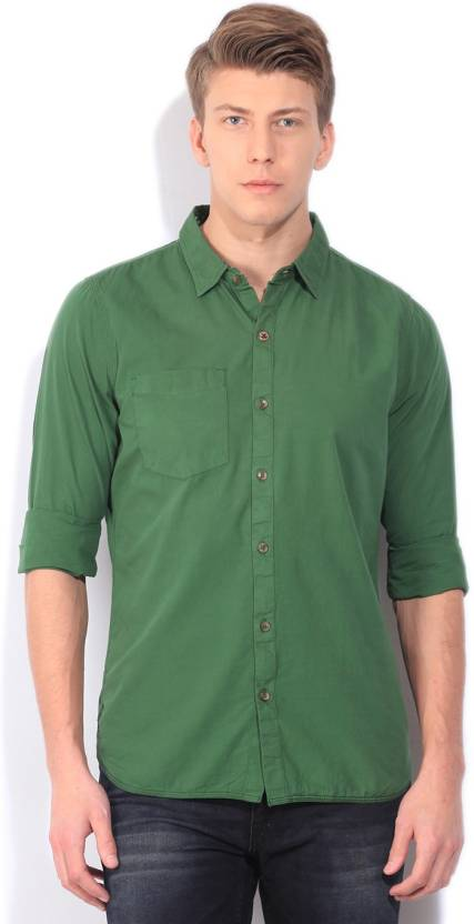 WROGN Men's Solid Casual Green Shirt