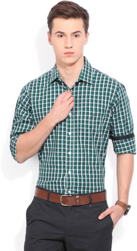 LP Louis Philippe Men's Checkered Casual Green Shirt