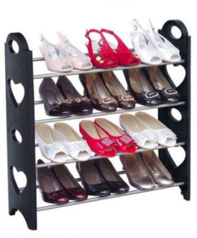 E Traders Plastic Collapsible Shoe Stand 4 Shelves