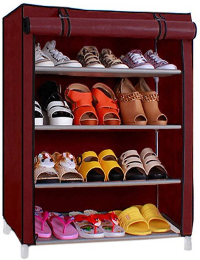 Collapsible Furniture Under Rs.3,999 By Flipkart | Pindia 4 Layer Maroon Design Rack Organizer Polyester Shoe Cabinet  (Maroon, 4 Shelves) @ Rs.849