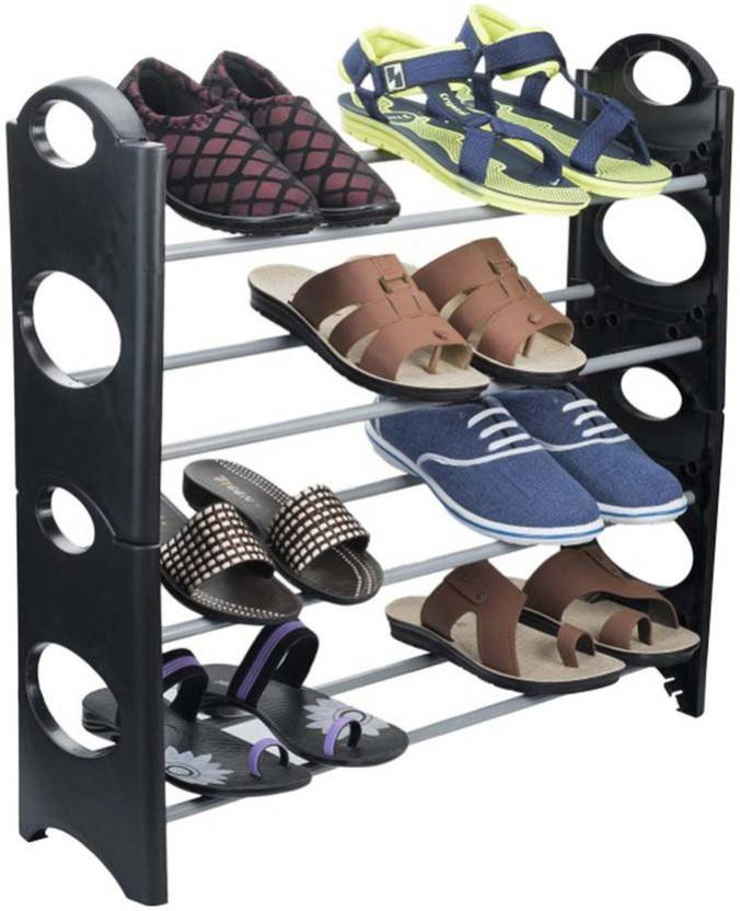skycandle.in Plastic Collapsible Shoe Stand 4 Shelves