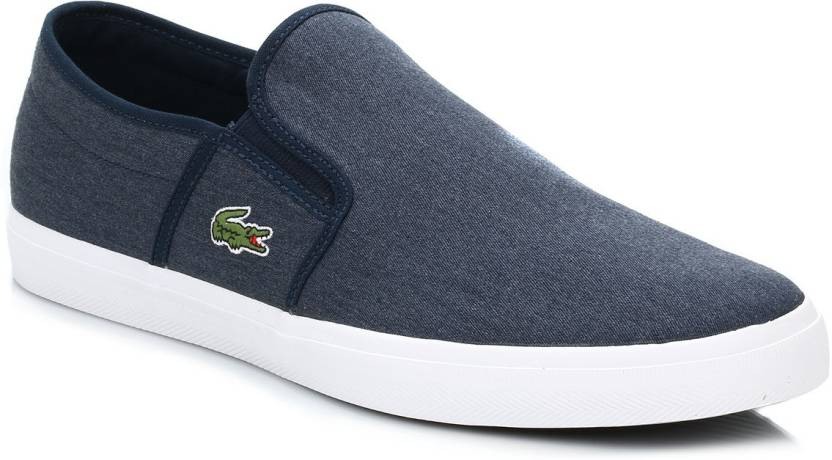 a3c56ad84 Lacoste Mens Dark Blue Gazon Sport CSU2 Canvas Trainers Casual Shoes For Men  (Blue)