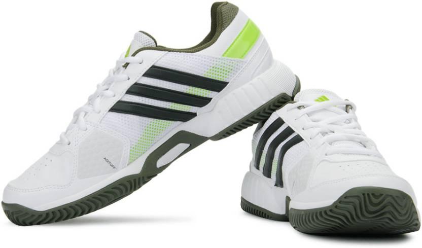 designer fashion 86817 c49ca ADIDAS Barricade Team 3 Tennis Shoes For Men (White, Black, Green)