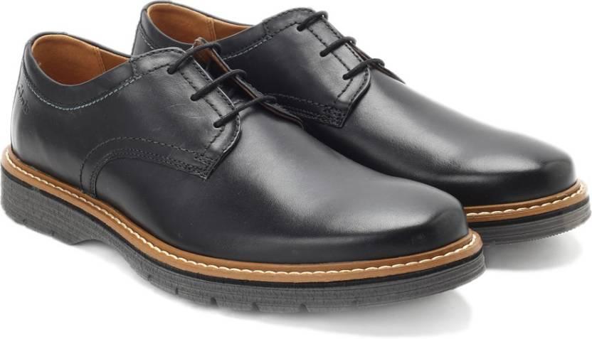 04ac97fe94f Clarks Newkirk Plain Black Leather lace up For Men - Buy BLACK Color ...