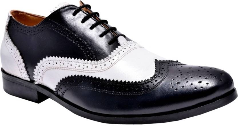 faace137dae Hirel's Mens Dual Color Leather Brogues Lace Up Shoes For Men