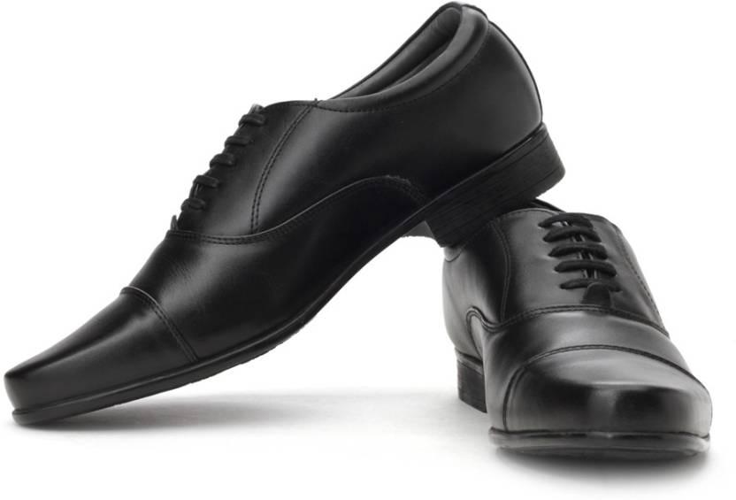 Bata Black Leather Oxford Shoes
