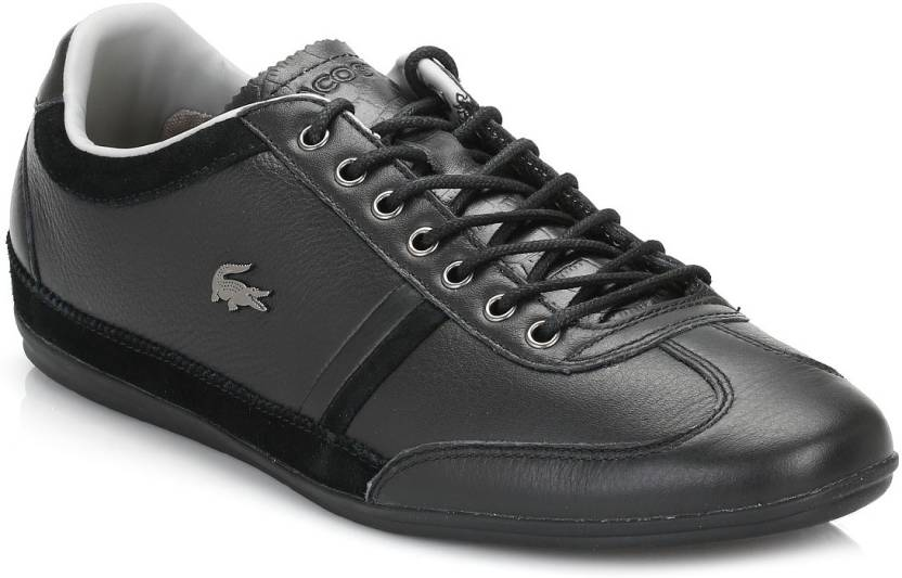 7ad4da0ca062 Lacoste Mens Black Misano 36 Leather Trainers Casual Shoes For Men (Black)