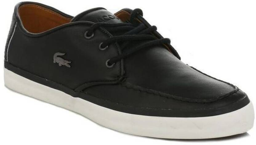 ae0c9a166bf30b Lacoste Mens Black Sevrin LCR Leather Trainers Casual Shoes For Men (Black)