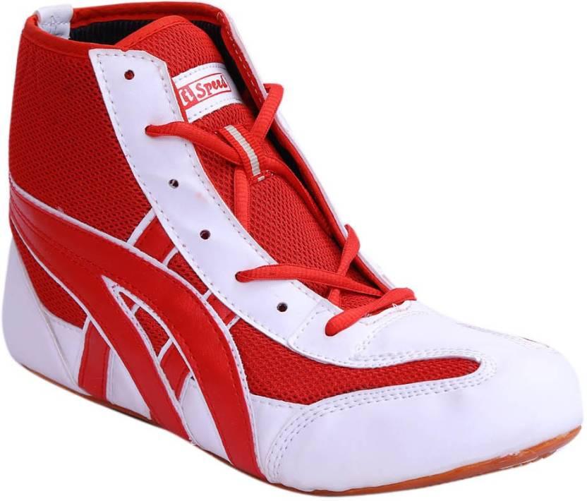 774efd6969ef40 Hi-Speed Matt2 White Red Boxing   Wrestling Shoes For Men - Buy ...