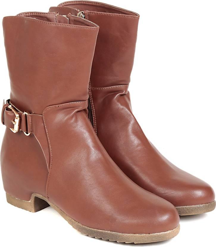 93adb305d9e1 TEN TEN Women s Brown Mid Length Boots Boots For Women - Buy Brown ...