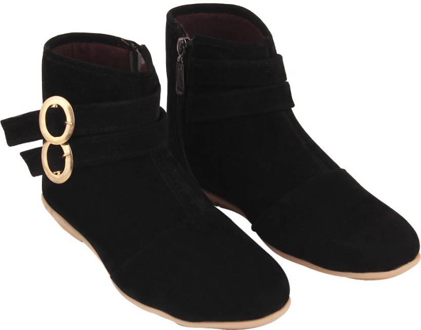 ABJ Fashion Double Buckle Women's Stylish Black Boots