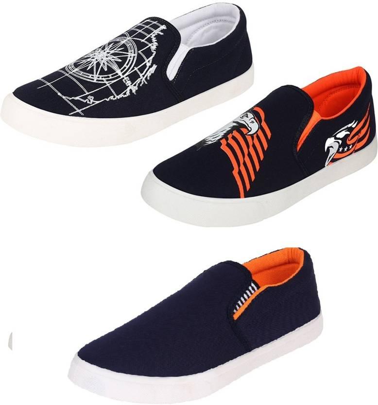 be2bd9c79 World Wear Footwear combo-461+472+486 Slip On Sneakers For Men (Multicolor)