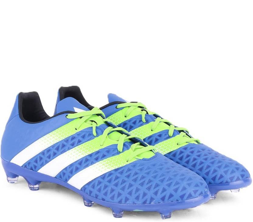 detailed look 28829 c264e ADIDAS ACE 16.2 FG AG Men Football Shoes For Men (Blue, Green, White)