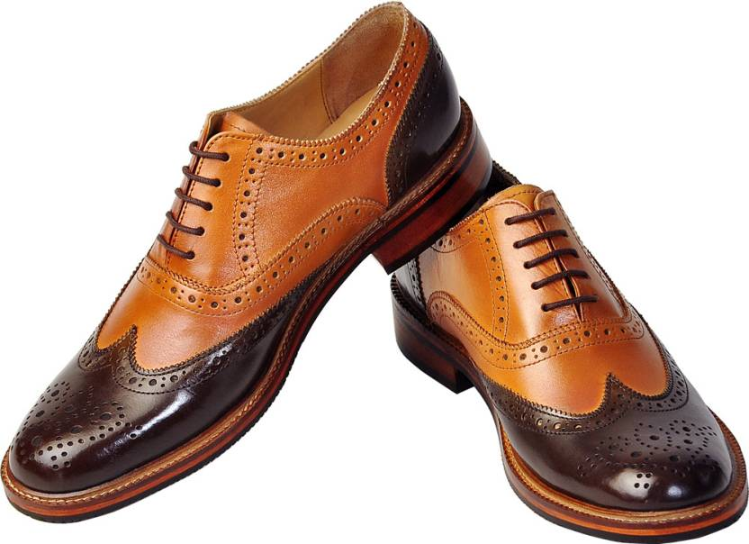 5b093dab2aea Tomahawk Oxford Two-Tone Classic Wingtip Party Wear For Men (Brown, Tan)