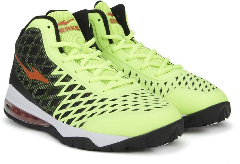 afb01c56513c Erke Basketball Shoes For Men - Buy Bright Apple Green Black Color ...