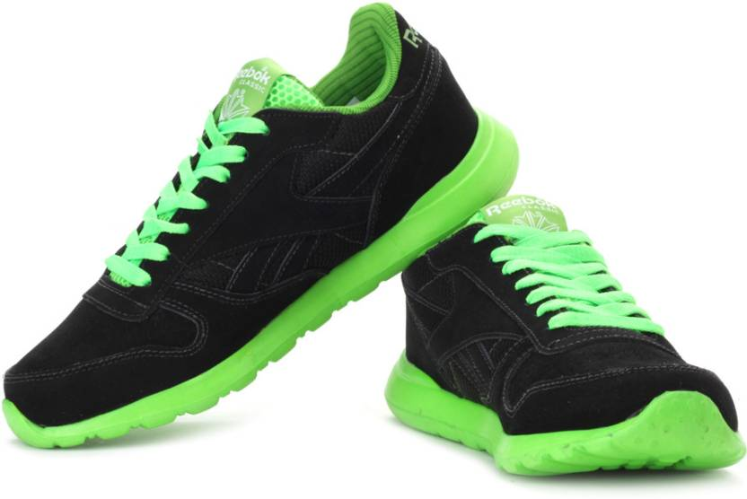 1109512f REEBOK Classics Leather Tech Running Shoes For Men - Buy Black ...