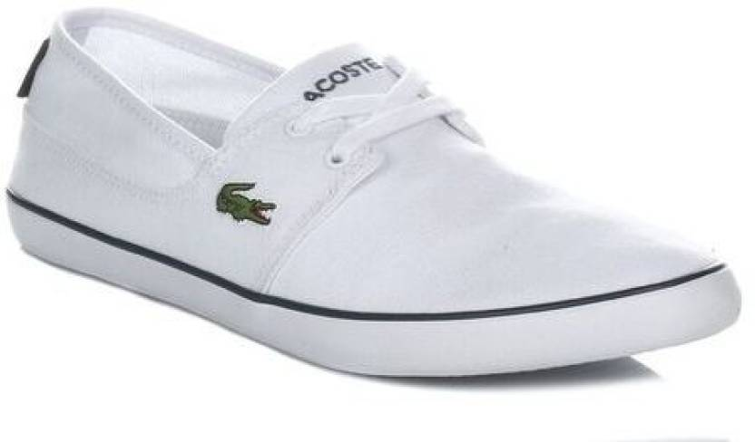 3f7de825a435 Lacoste Mens White Marice Lace Canvas Trainers Casual Shoes For Men (White)