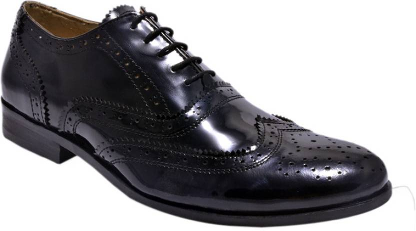 64c82c68ab5 Hirel's Mens Patent Leather Brogues Lace Up Shoes For Men