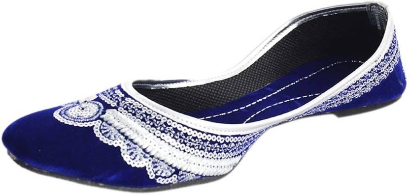 91db8959927 Kanchan Ethnic Wear Bellies For Women - Buy Blue Silver Color ...