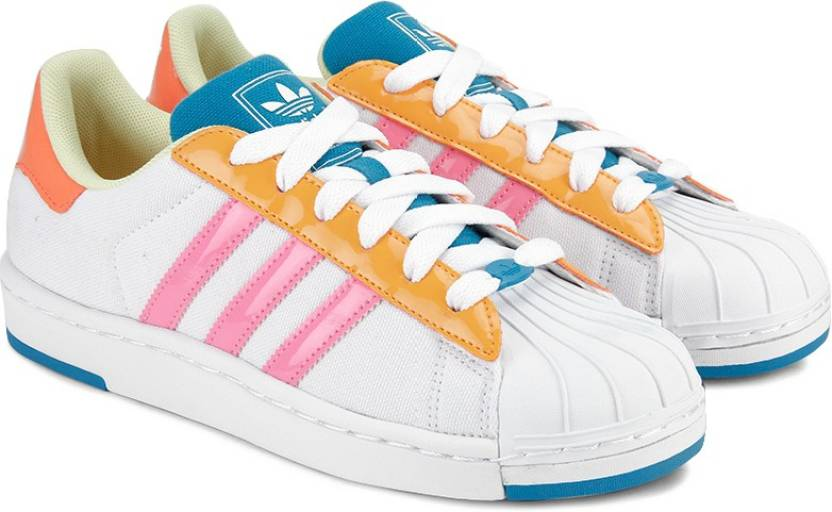 newest 940c0 47a54 ADIDAS ORIGINALS Superstar II W Lite Sneakers For Women (Multicolor, White,  Yellow)