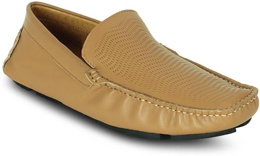 ea6f5eedb38 Get Glamr PERFORATED SLIP ONS Loafers For Men - Buy Beige Color Get ...