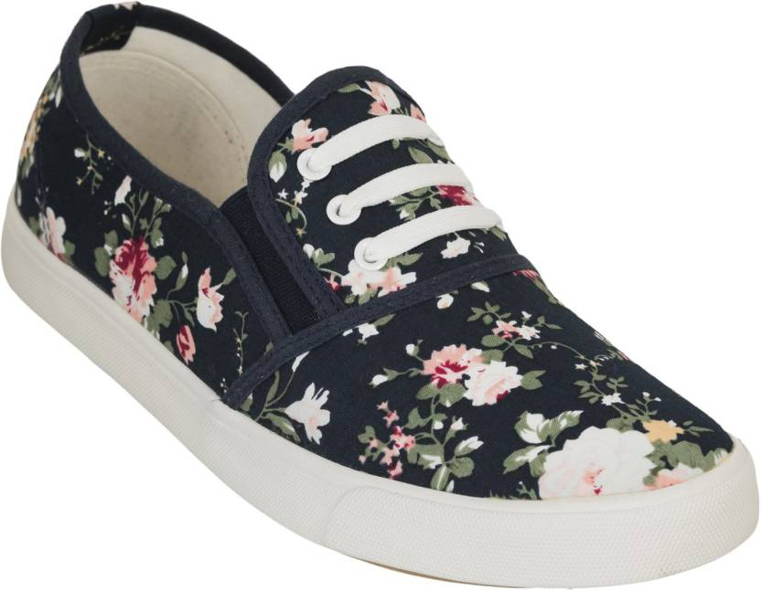 Advin England Smart Floral Casual Shoes Blue Sneakers For