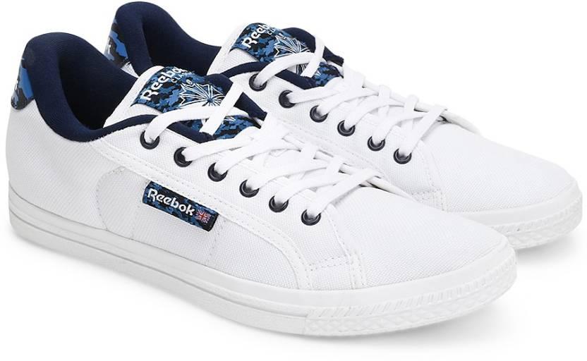 c988e13e8f5 REEBOK COURT Canvas Shoes For Men - Buy WHITE NAVY EMERALD BLUE ...