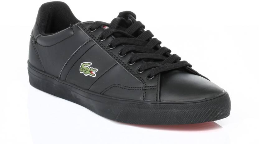 e57b4d22df06 Lacoste Mens Black Fairlead Leather Trainers Casual Shoes For Men (Black)