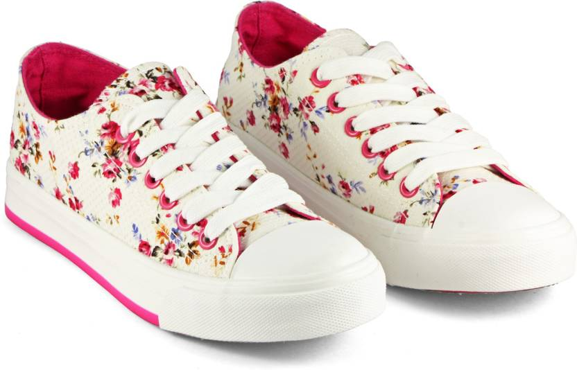 DeVEE Rigess Tumbler Floral Print White Canvas Shoes For