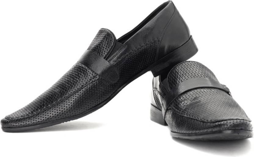 152c4c659d1d Franco Leone Genuine Leather Slip On Shoes For Men - Buy Black Color ...