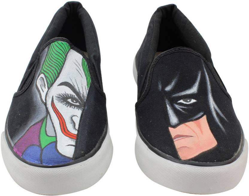 c3901423ab84 LazyBrats Batman - Joker Hand Painted Customised Casual Slipon Shoes For  Men (Black)