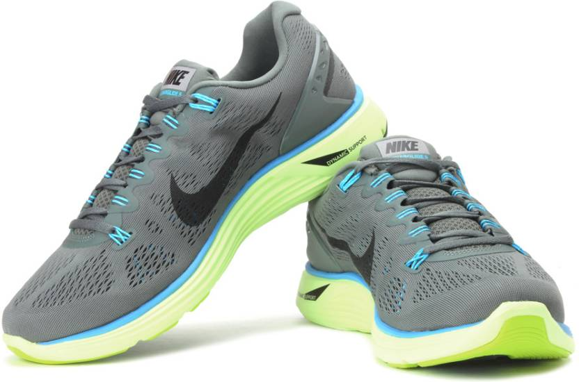 new style 1c182 662ff Nike Lunarglide + 5 Running Shoes For Men (Green, Black, Blue)