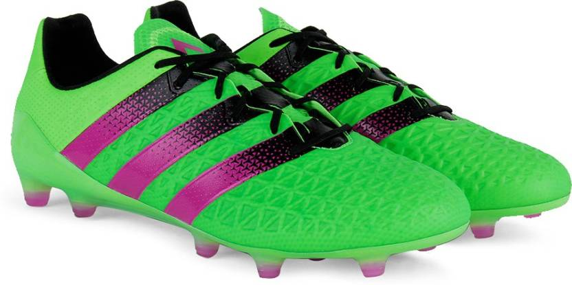 new style b7806 dbe53 ADIDAS ACE 16.1 FG AG Men Football Shoes For Men (Black, Green, Pink)