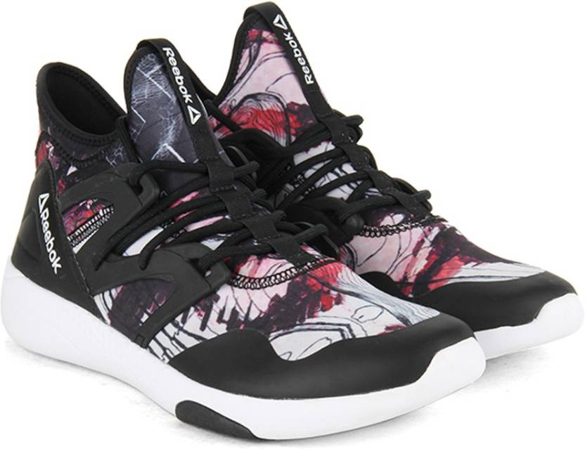 REEBOK HAYASU Mid Ankle Sneakers For Women - Buy BLACK WHITE GRAPHIC ... 7cccb98c7