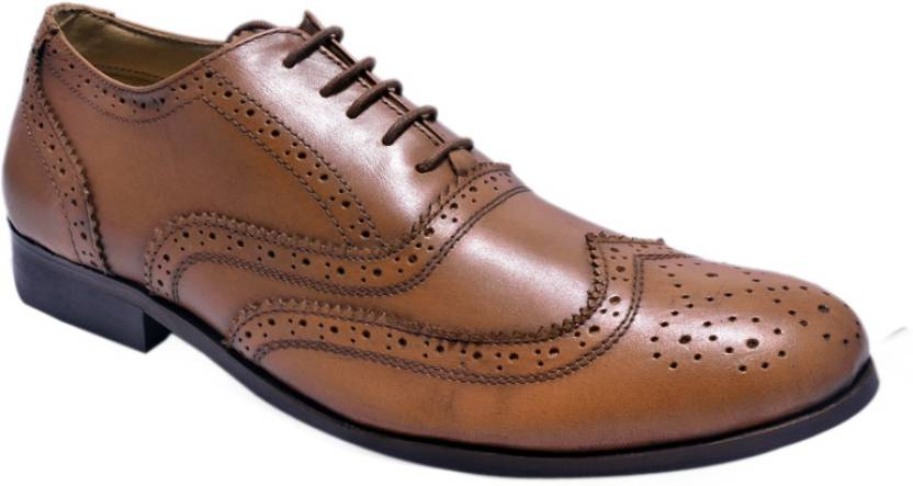 66246192942 Hirel's Mens Leather Brogues Lace Up Shoes For Men