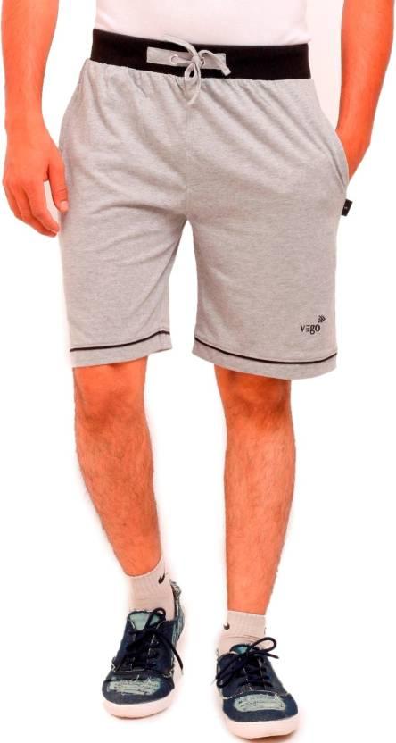Vego Solid Mens Grey Bermuda Shorts