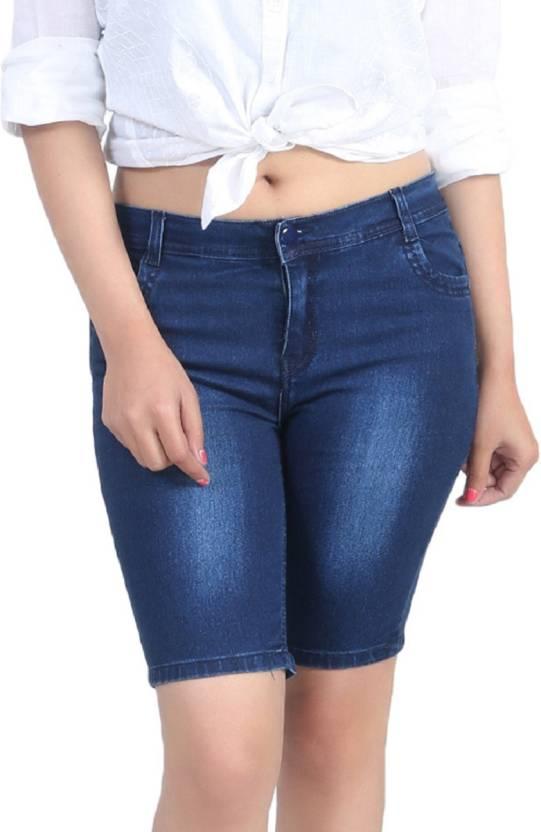 Ico Blue Star Solid Women's Blue Denim Shorts