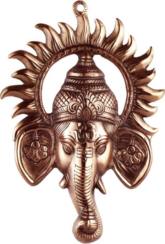 JaipurCrafts Matel Wall Hanging Of Lord Ganesha Inside Sun Showpiece  -  30 cm